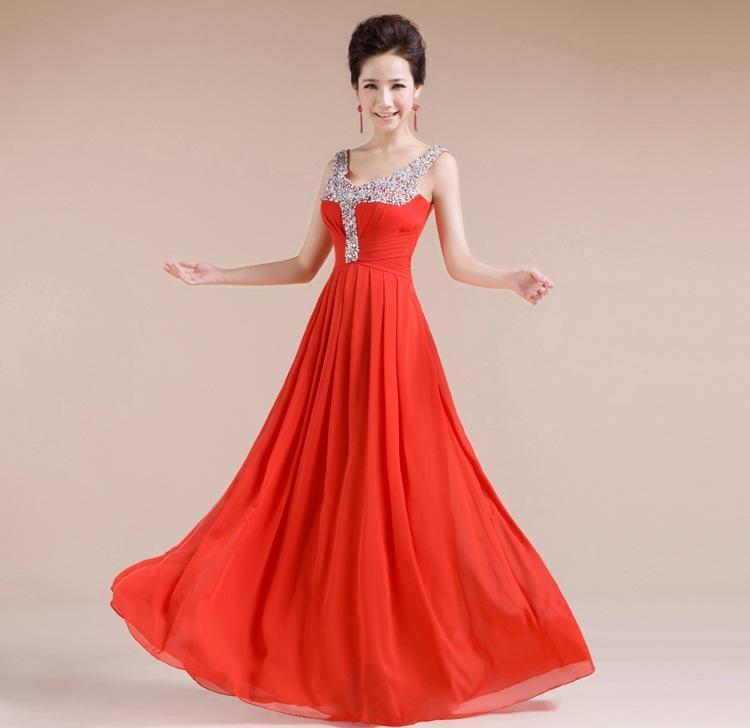 Maxi Long Bride Chiffon Dinner Dress Toast Red Floor-Length Beash ... 1eef388353f2