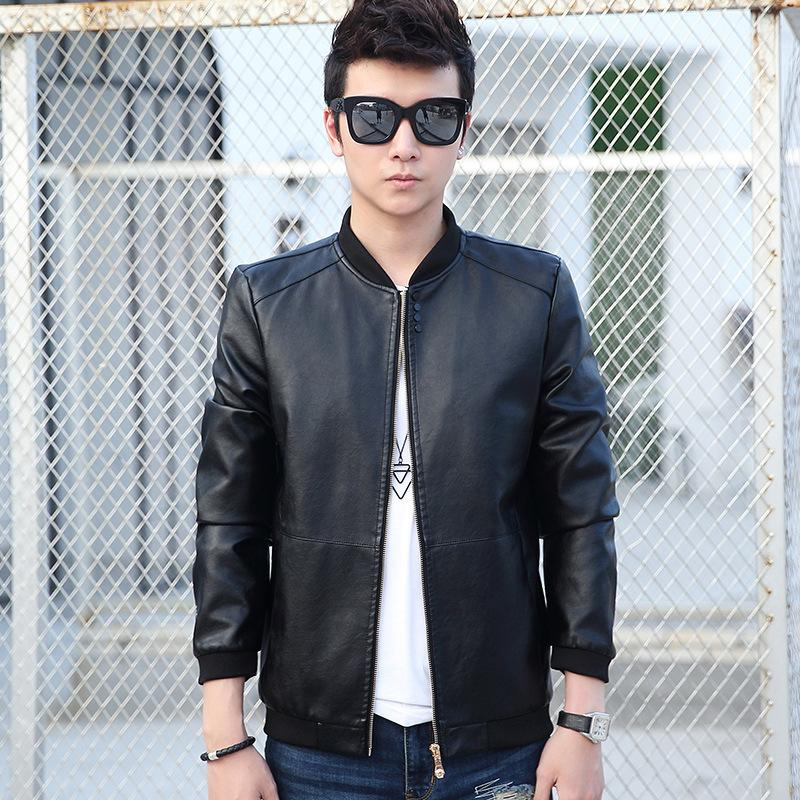 a3e6ae36b Wholesale- 2017 New Men Leather Jacket Fur Stand Collar Motorcycle Jaqueta  Masculinas Jacket Mens fashion Casual jackets Leather coat Tops