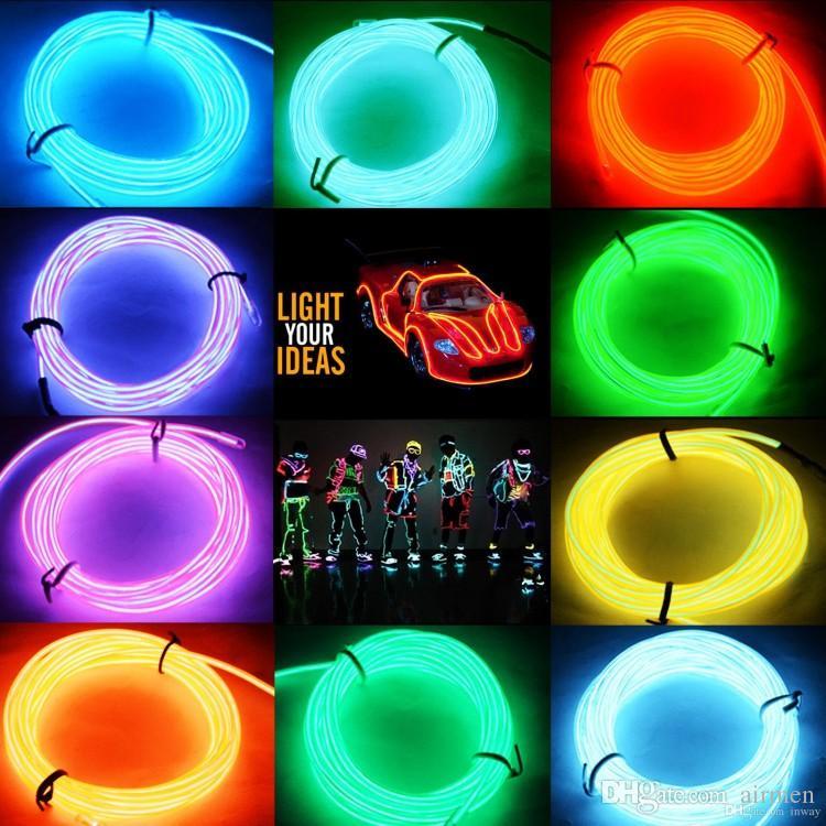 5m LED tubo al neon flessibile striscia rosa chiaro giallo rosso bianco verde blu EL filo incandescente alimentato con controller auto da festa