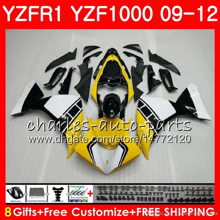 Bodywork For YAMAHA YZF Yellow black 1000 R 1 YZF-1000 YZF-R1 09 12 Body 85NO6 YZF1000 YZFR1 09 10 11 12 YZF R1 2009 2010 2011 2012 Fairing