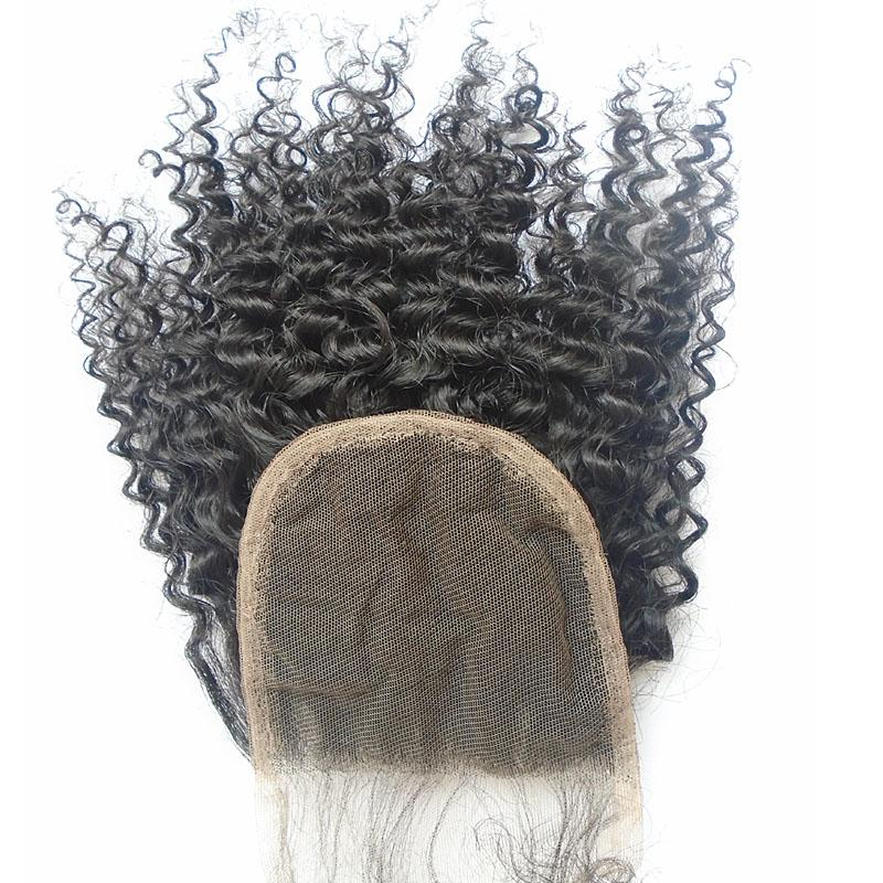 Cheap Mongolian Afro Kinky Curly Lace Front Closure 4*4 inch Free Middle 3 Part Bleached Knots With Baby Hair Unprocessed Virgin Human Hair