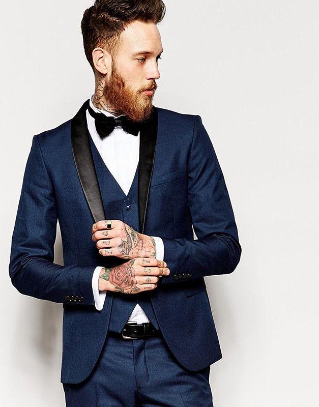 Three Pieces Custom Made One Button Navy Blue Groom Tuxedos Groomsmen Best Man Suit Wedding Men's Suits Bridegroom Jacket+Pants+Vest