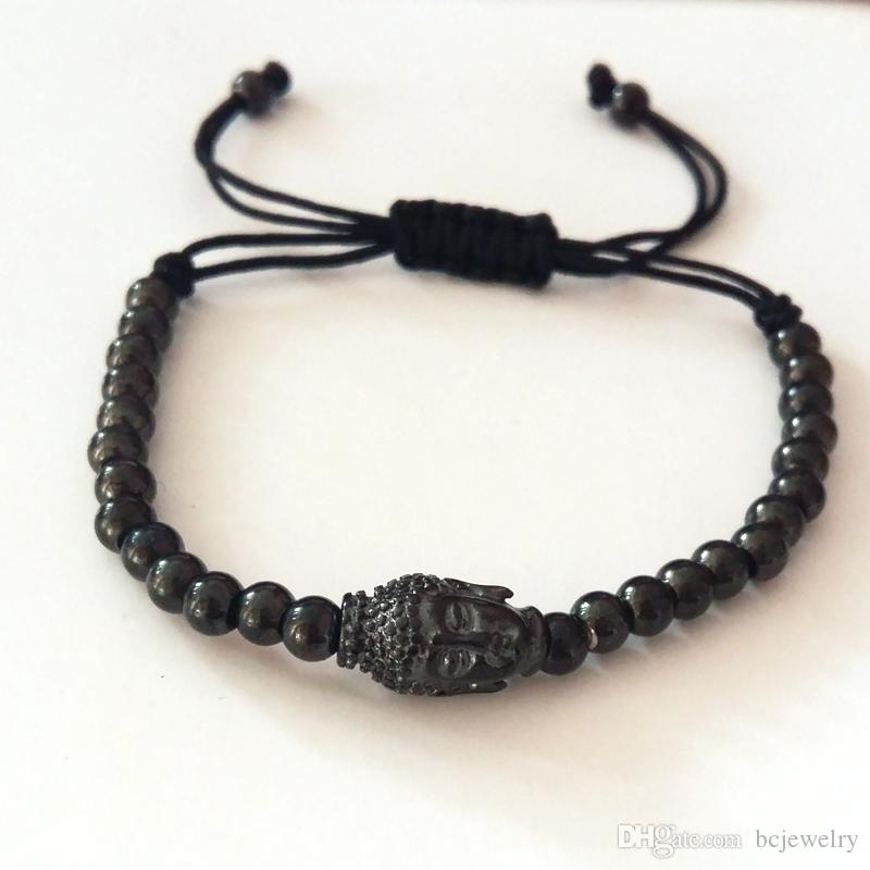 BC Anil Arjandas Fashion Men Black Bracelet,Pave Setting Black Buddha Connector & 4mm Round Bead Braiding Men Macrame Bracelet BC-228