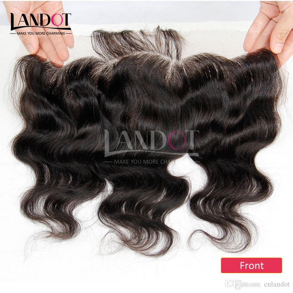 Класс 8а малазийский кружева фронтальная закрытие объемная волна волнистые размер 13x4 полный кружева фронтальная 100% необработанные девственные человеческие волосы закрытия натуральный черный