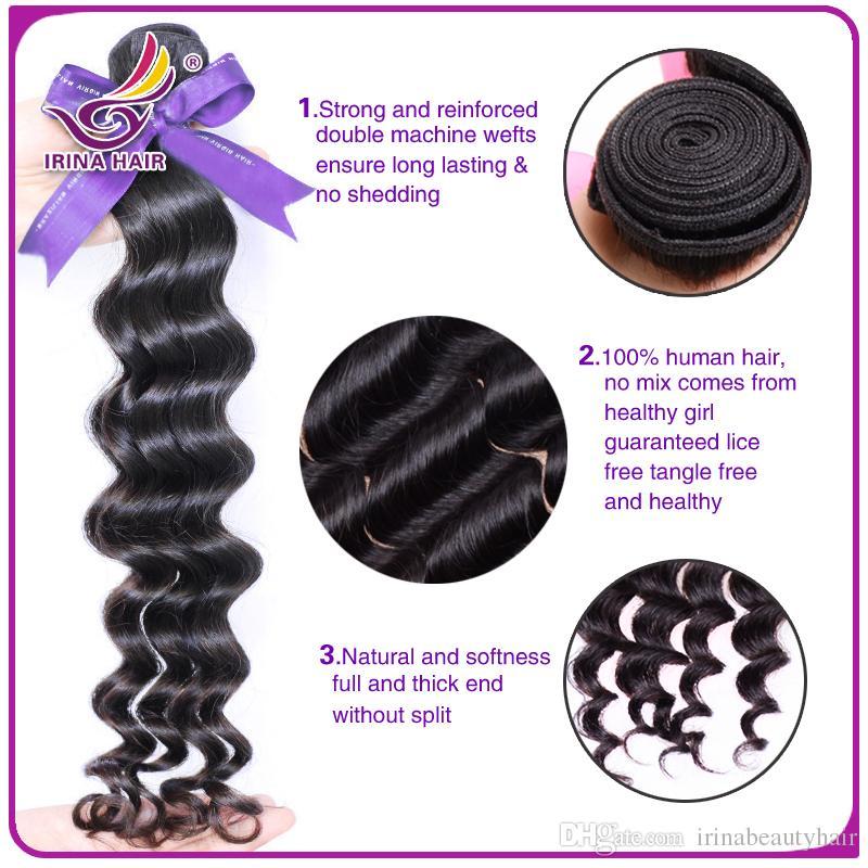 50% de descuento en los productos de cabello mongol peruano malasio peruano Pelo brasileño de la Virgen ola profunda 3 o 4 paquetes por lote Armadura de cabello humano sin enredo