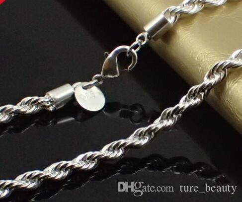 3MM 925 Sterling Silver Stamp - Rope Chain Necklace 16 18 20 22 24 INCH fashion jewelry /
