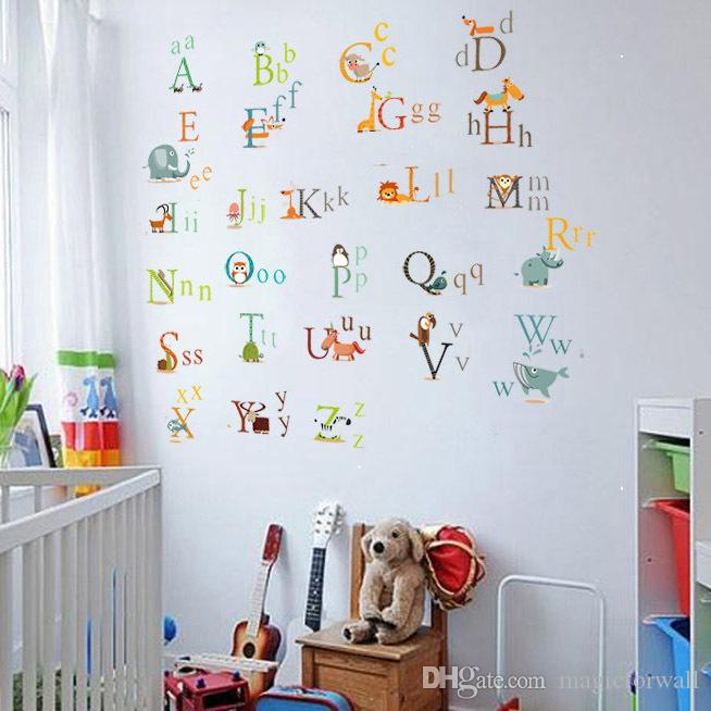Cute Animals Alphabet Kids Room Wall Decal Sticker A to Z English Letter Removable Wall Art Mural Decor Sticker