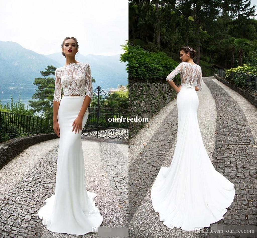 2018 Milla Nova Lace Two Pieces Wedding Dresses With Half Sleeves