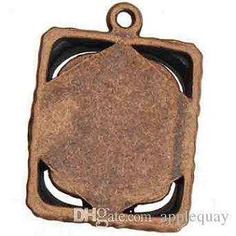 Antique Copper Ramka na zdjęcia Charms Metal Vintage Nowy DIY Moda Biżuteria Akcesoria i ustalenia Naszyjniki Bransoletki 25 * 18mm 100 sztuk