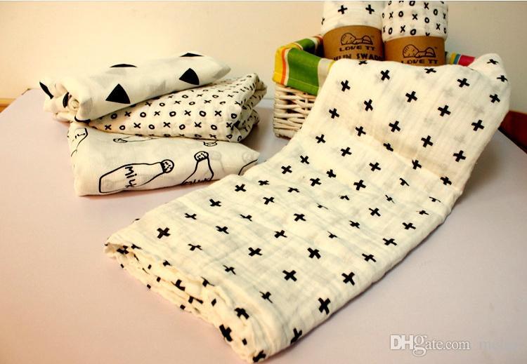"New Hot Sale 100% Organic Cotton Muslin INS Swaddle Blanket Multi-use blanket Infant Newborn Baby Wrap 47*47"" 120*120cm"