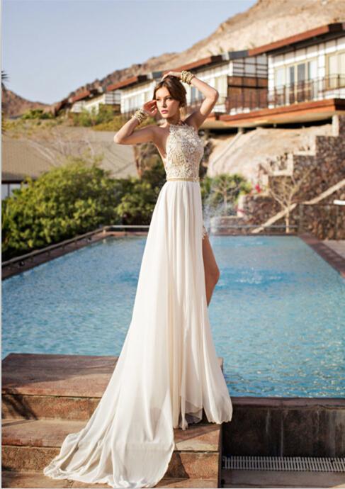 Vintage 2019 Julie Vino Summer Beach A-ligne Robes de Mariée New Halter Backless dentelle en mousseline de soie haut de Split Robes de mariée