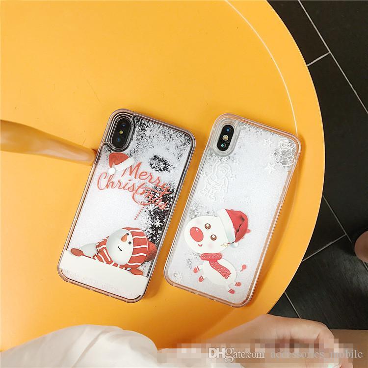 hot sale Christmas i 7 / 8 / 6s / plus Christmas tree quicksand mobile phone shell snowflake elderly protective shell X