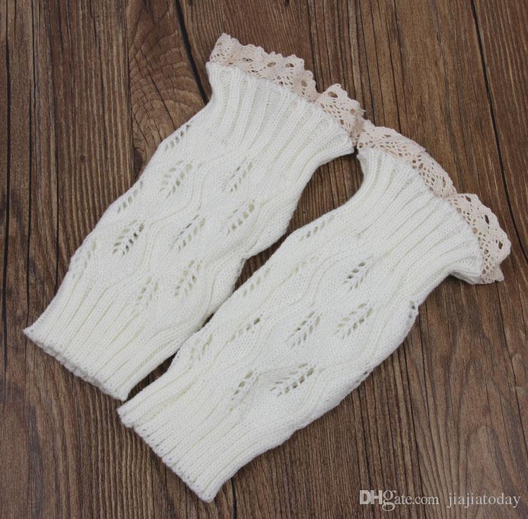 1lot==women Crochet lace boot cuffs handmade Knit leg warmer Ballet lace Boot Cuff Leg Warmers Christmas Boot Socks covers 9 colo