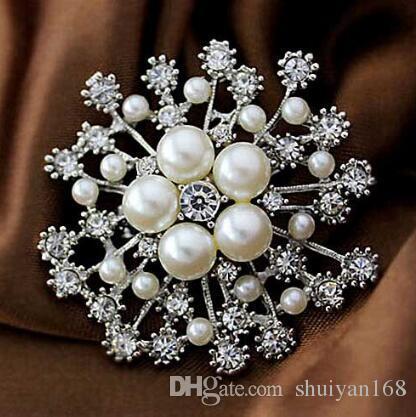Perla Cristales Oro Copo de nieve Broche de Lujo Diamante Checo Mujeres Hijab Desgaste Broches Prendedores Joyería de Moda