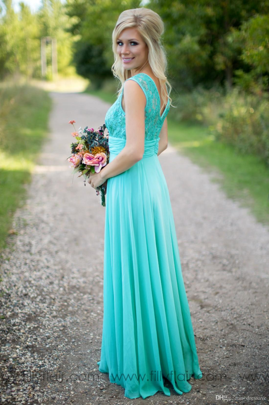 2019 Turquoise Bridesmaid Dresses Sheer Jewel Neck Lace Top Chiffon Long Country Bridesmaids Maid of Honor Wedding Guest Dresses