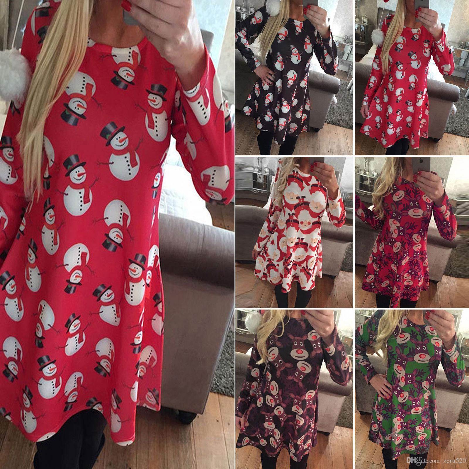 womens ladies dress long sleeves xmas women clothes santa gifts snowman christmas print swing dresses for womens sequin dresses sweater dresses from zeru520