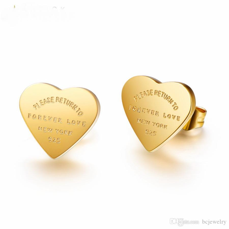 До н. э. очарование серьги pulseiras золото цвет нержавеющей стали сердце серьги для женщин розовое золото цвет сердца Стад серьги ювелирные изделия подарок