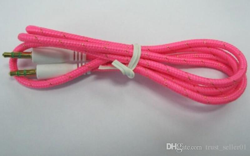 Плетеный аудио вспомогательный кабель 1 м 3,5 мм AUX удлинитель между мужчинами стерео автомобильный нейлоновый шнур для телефона Samsung ПК ПК MP3-динамик для наушников