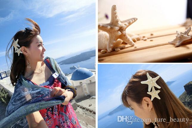 Handmade the diy hairpins natural real starfish side folder top clip duckbill clip hair accessories headdress stay sea aw /