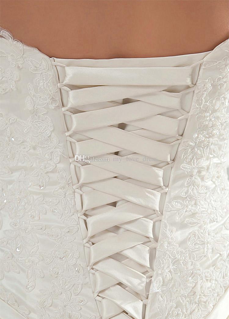 2018 heißer Verkauf Elegante Einfache A-line Liebsten Satin Brautkleid Spitze Appliques Top Brautkleid Geraffte Lace Up