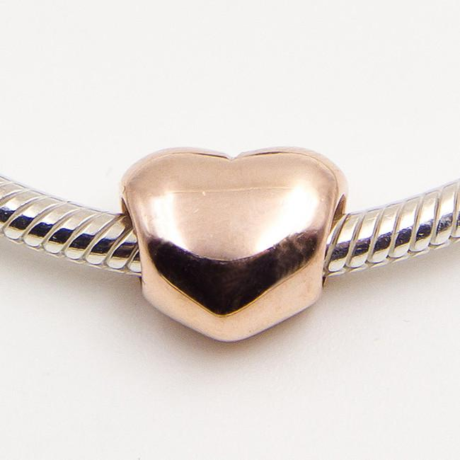 925 Ayar Gümüş Gül Altın kaplama Büyük Kalp Charm Boncuk Avrupa Pandora Takı Bilezikler Kolye Kolyeler Uyar Kolye
