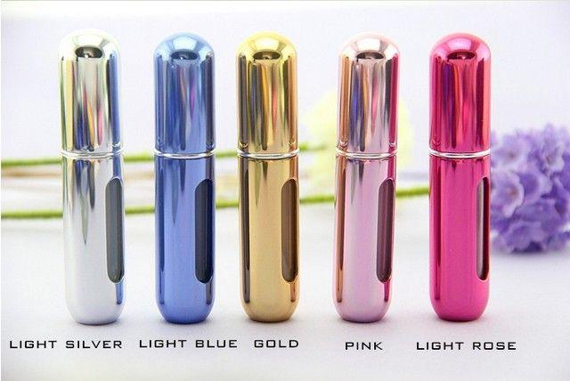 Venta al por mayor ! 5 ml de metal de aluminio botellas de perfume de vidrio vacías botellas de viaje atomizadores de perfume spray de maquillaje