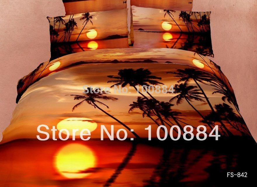2018 Palm Tree 3d Quilt Cover Set,500tc Bedding Sets Without Filler,Sundown  And Palm Tree Bedding Sets,Sunset Palm Tree Bed Linen From Bepositive, ...