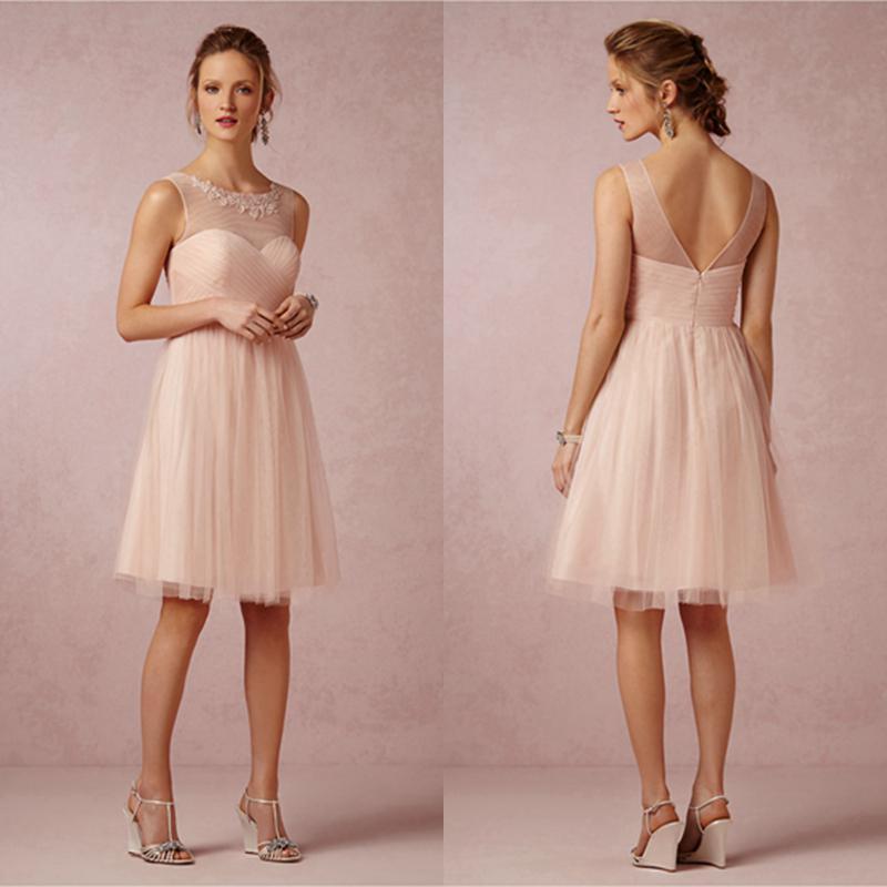 Blush Summer Beach Bridesmaid Dresses Short Soft Tulle Knee Length ...