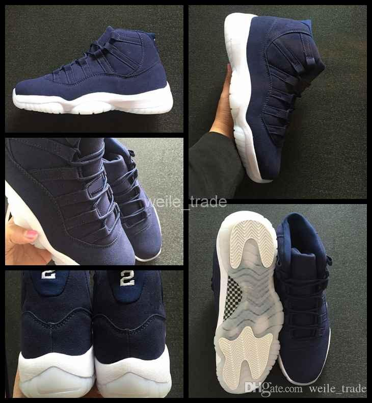 1771ad99ebc 2018 New 11 XI Jeter Re2pect Mens Basketball Shoes Blue Suede High Quality  Sneakers Man 11s Athletic Trainers Sports Shoes 8 13 Shoe Shops Cheap  Basketball ...