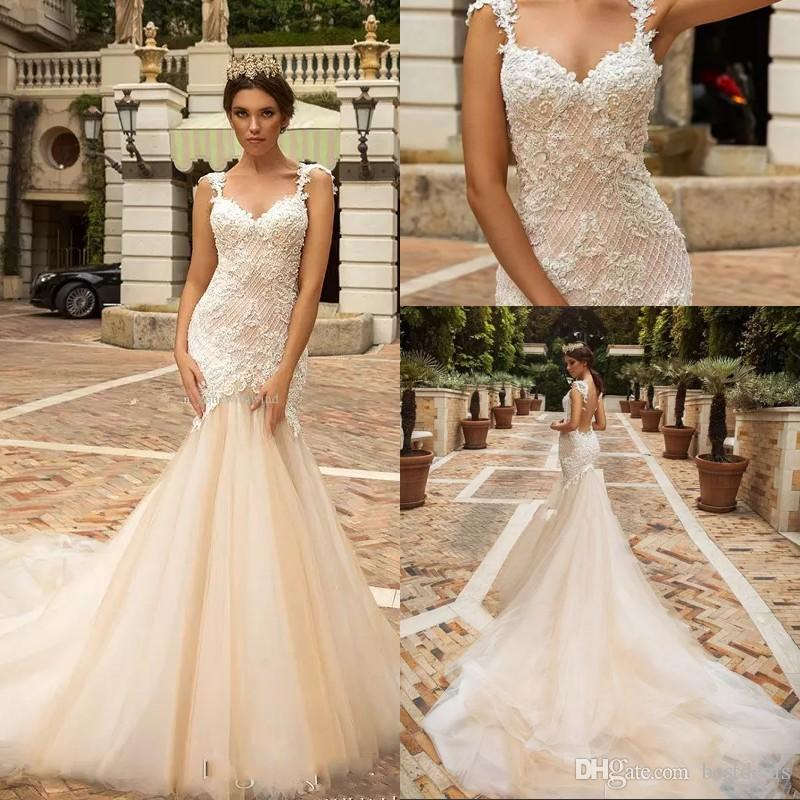 9fa777976efb Designer Mermaid Lace Wedding Dresses 2018 Crystal Design Bridal  Embellished Bodice Sleeveless Fit And Flare Backless Wedding Gowns Designer  Beach Wedding ...