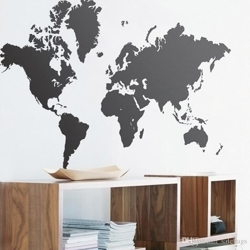 Perfect Wholesales Black Large World Map Wall Sticker Removable Double Sided Visual  Pattern Home Decoration House Wallpaper Jc0145 Salebags Full Wall Decal  Full ... Ideas