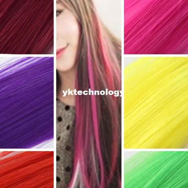 24inch Cool Hair Extensions Neon Clip In Long Fake Synthetic Rainbow