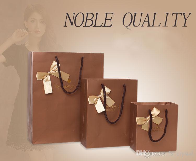 17 * 22 * 7cm 고귀한 품질 Bowknot 종이 선물 가방 비즈니스 선물 호의 포장 봉투 명절 선물 패키지 파티 용품 / WS084