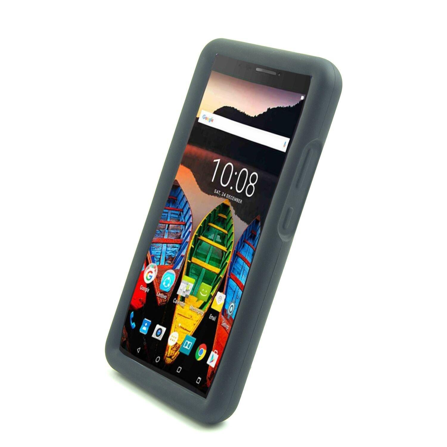 wholesale dealer fa7cb 31591 MingShore Silicone Rugged Case With Handstrap For Lenovo Tab 3 7 Plus Model  TB-7703X/F/N 7.0 Inch Tablet Bumper Cover