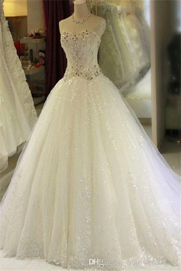 Abiti da sposa Sweetheart di cristallo strass 2018 Luxury A Line Lace Paillettes Corsetto Back Abiti da sposa Custom Made