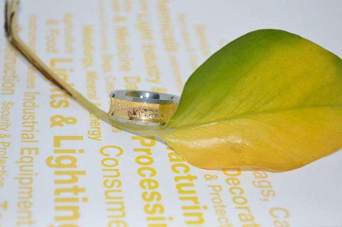 18 K 금 도금 부부의 텅스텐 반지 높은 폴란드어 오목 셀 틱 스타일 패션 쥬얼리 반지