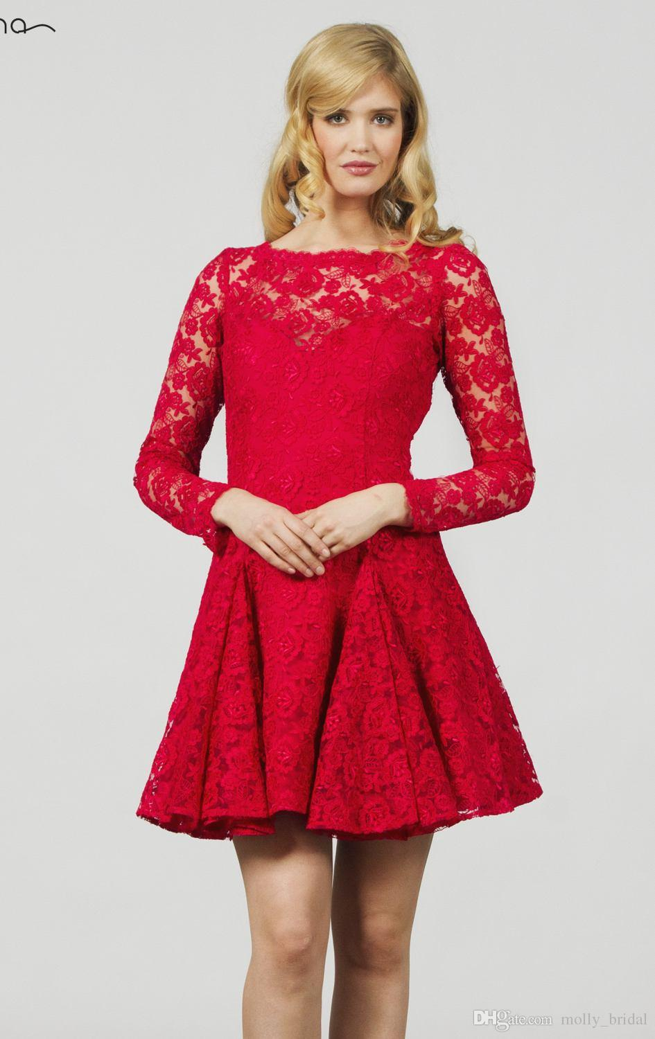 New 2017 Red Lace Long Sleeve Mini Short Prom Dresses Sexy backless A Line High Collar Formal Pageant Party Dress For Gala Gowns