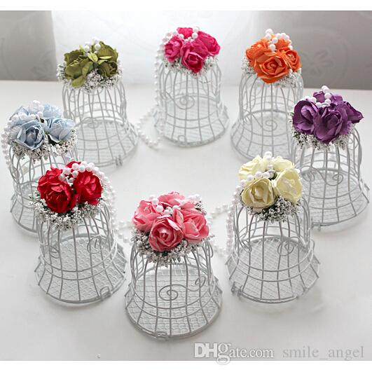 2020 Wedding Favor Boxes White Metal Bell Birdcage Shaped with Flowers Party Gift Boxes Supplies High Quality Candy Boxes For Guests