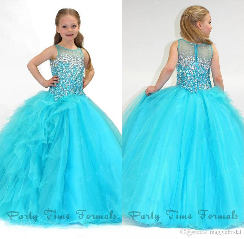 Blue Ball Gowns Pageant Dresses For Girls Glitz Beading Crystals See ...