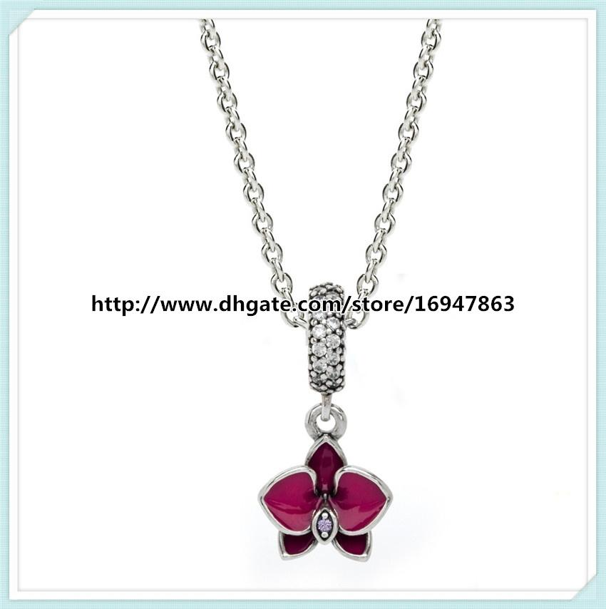100% 925 Sterling Silver Chain Hawaiian Flower Complete Drop Pendant Necklace with Clear Cz Fits Pandora Style Jewelry Charms and Beads