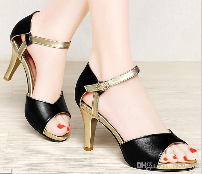 Summer sandals  fish mouth high heel stiletto Sandals Buckle sexy rhinestone ladies Sandals   2SQA1AUYU