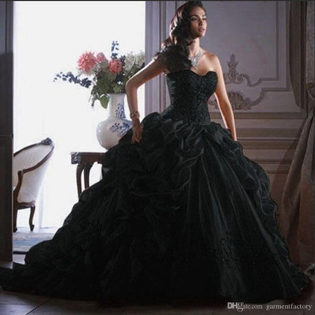 Vintage Black Ball Gown Wedding Dresses 2015 Strapless Sweetheart ...
