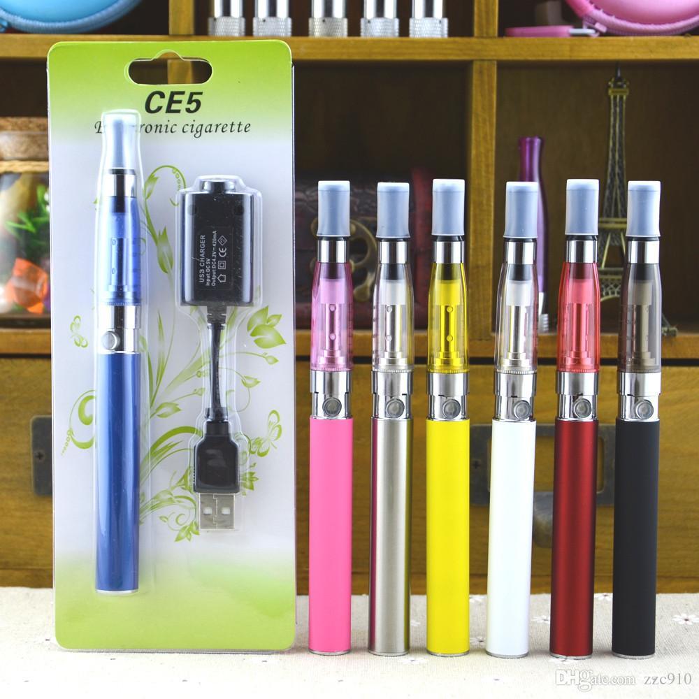 eGo CE5 Kits Blister Kits E Cigarettes CE5 Clearomizer no wicks eGo T 650mah 900mah 1100mah Battery Retail Packaging Fit CE4 CE6 Kits