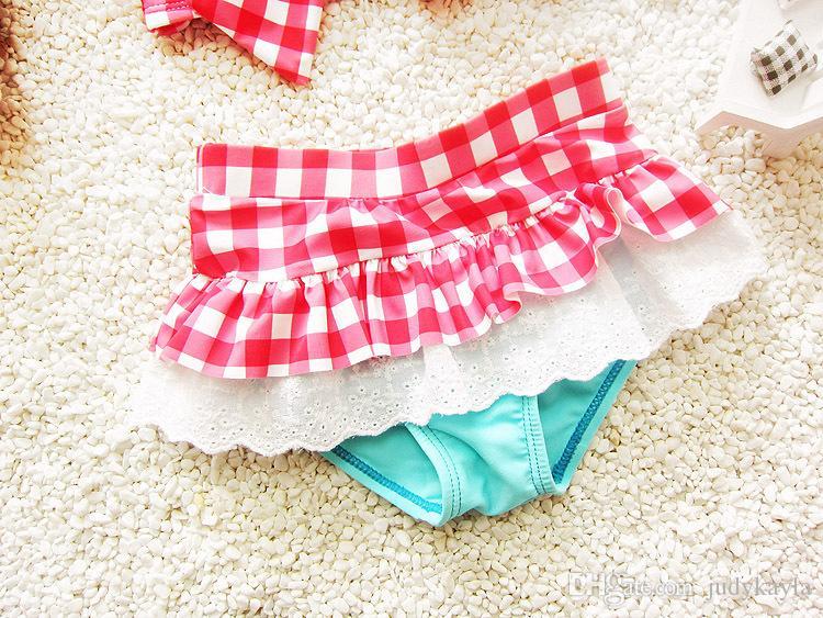 Yeni 2018 yaz kızlar Mayo ekose iki parçalı çocuk bikini mayo dantel ve ilmek çocuk mayo ile 5 takım / grup 2-7age ab892