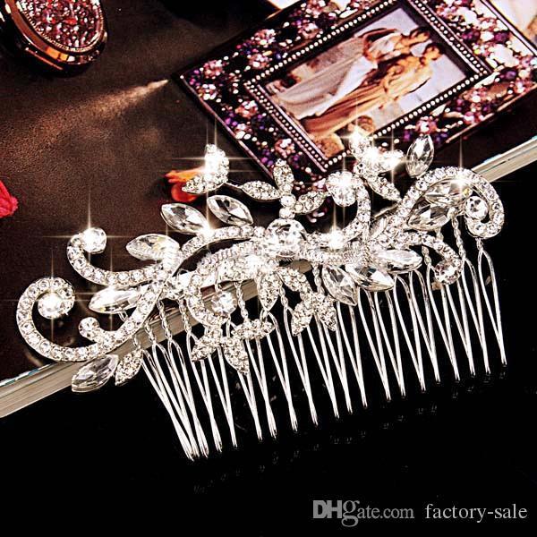 Gioielli con diamanti Foglia cristallo imitazione strass Diademi capelli pettini capelli Accessori capelli da sposa Accessori capelli CPA199