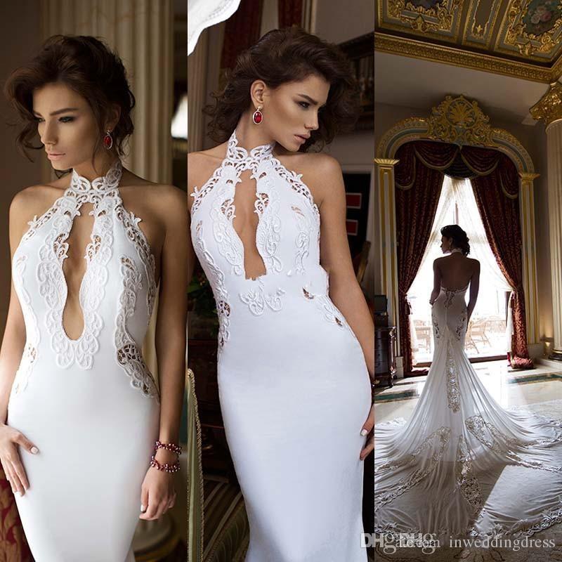 2015 Berta Halter Backless Mermiad Wedding Dresses Elegant