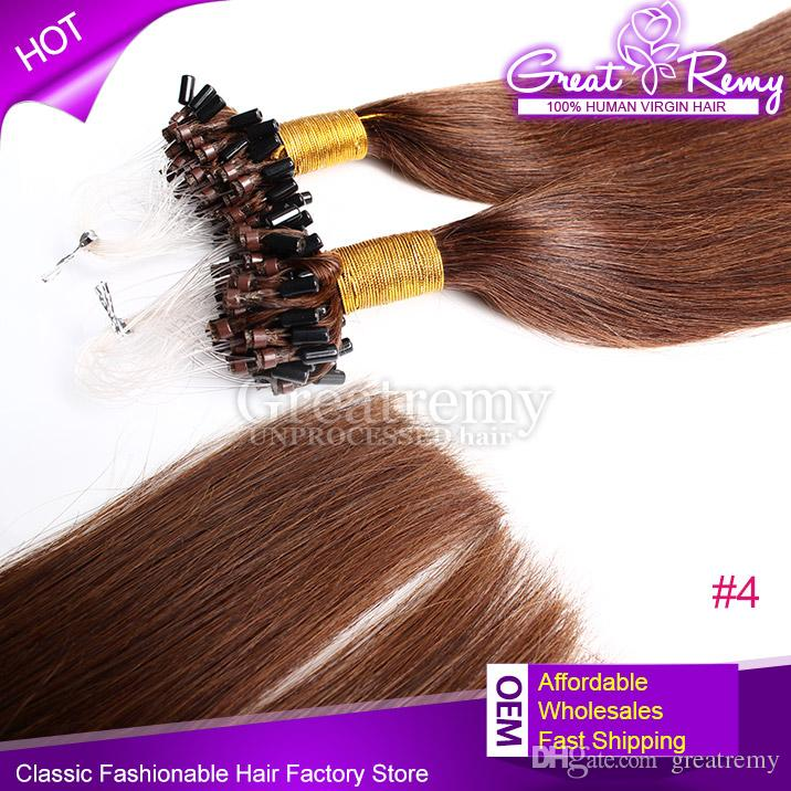 Color #1#1b#2#4 Brazilian Peruvian Virgin Micro Ring Loop Straight Hair Extension 100% human Hair weft remy Micro Loop Hair Extension