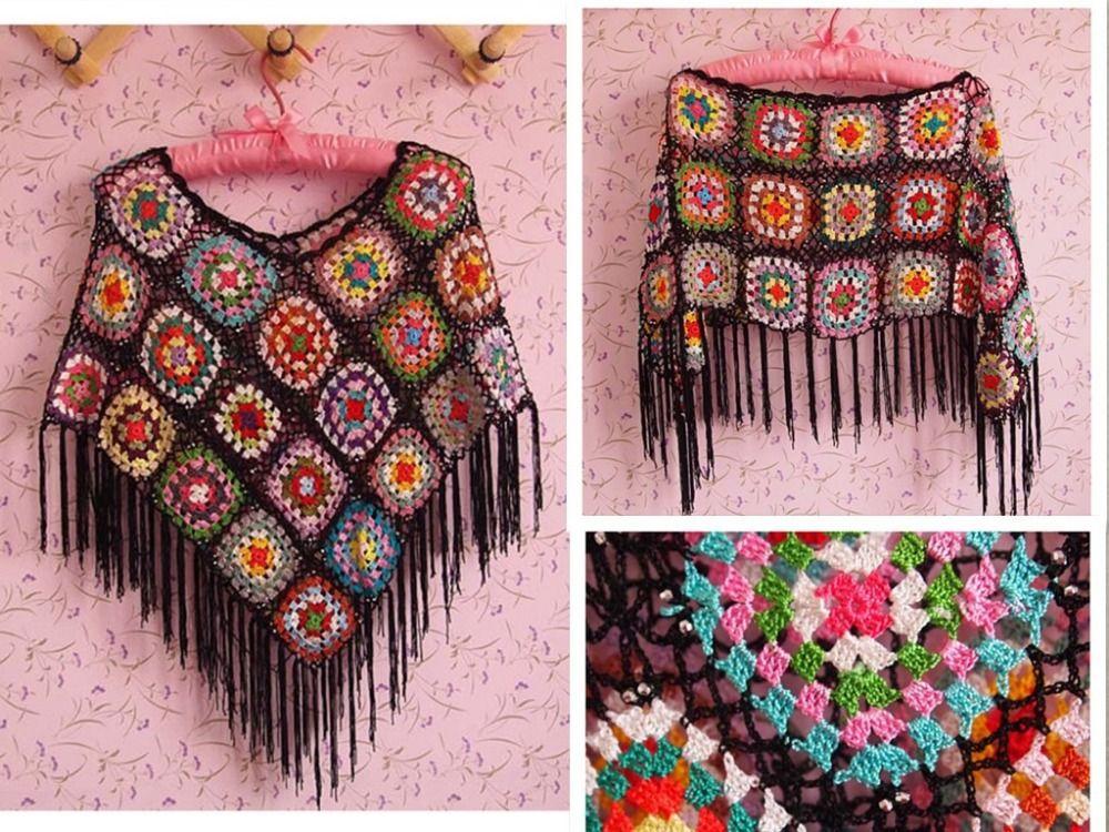 Wholesale Fringe Tassel Crop Top Handmade Crochet Cape Poncho Shawl