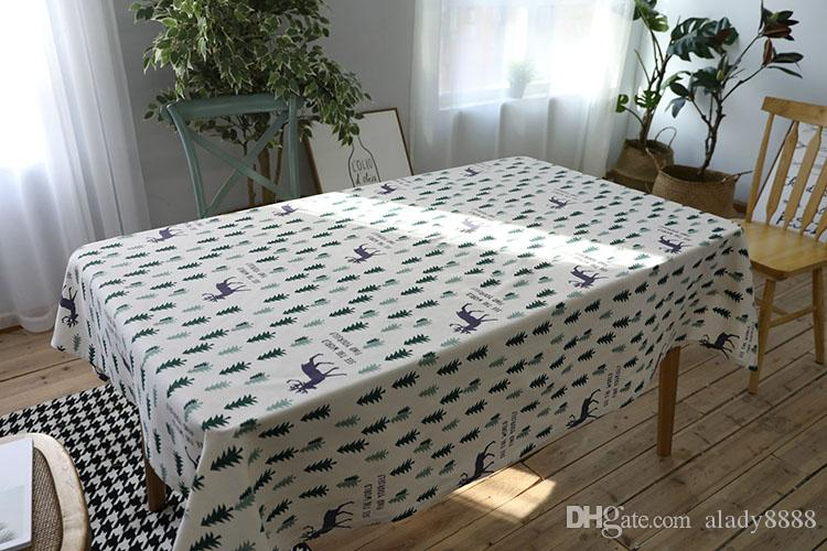linen christmas table cloth pastoral green tree and elk 60x60 rh dhgate com
