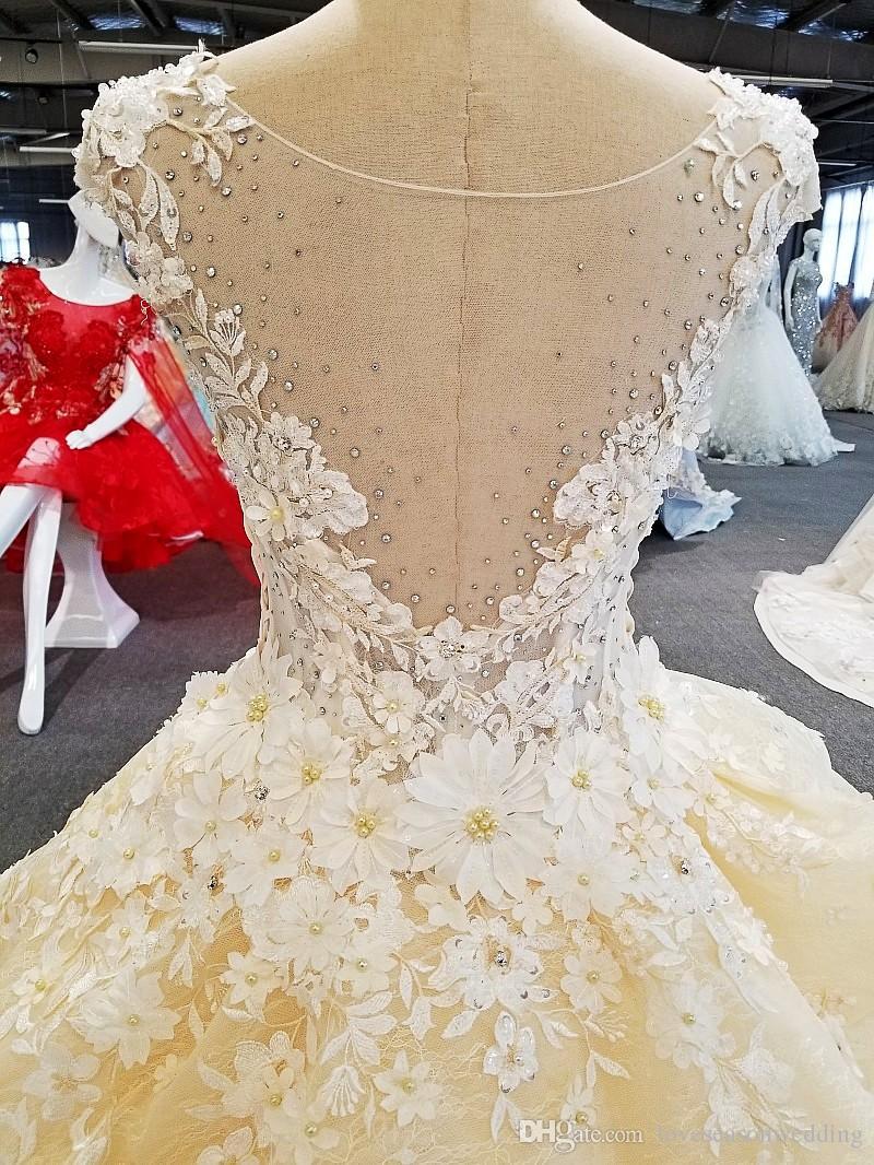 LS00273 O-neck long train flower patterns peplum see through moroccan bride robe de mariage wedding dress